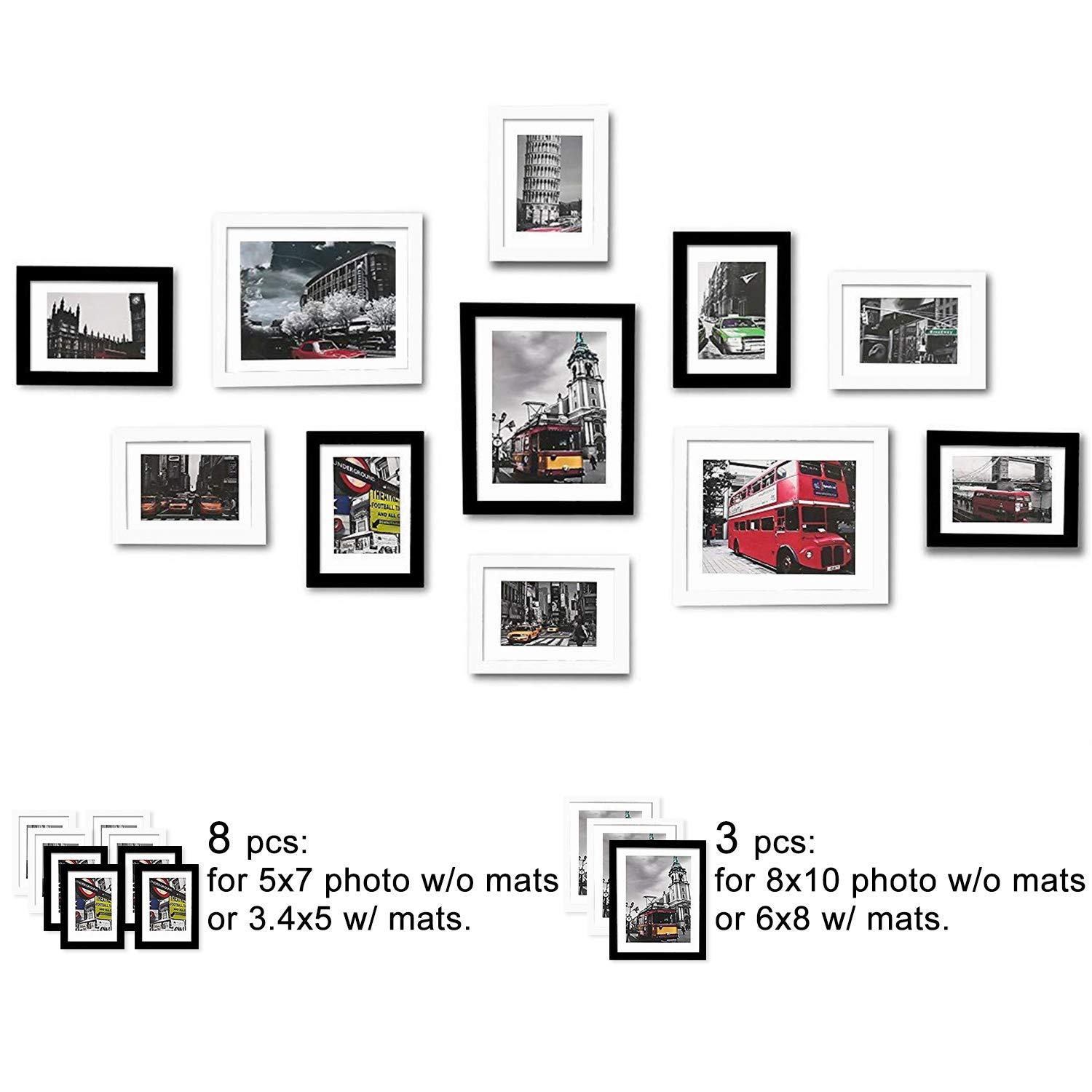 WOOD MEETS COLOR Picture Frames Set, Wall Gallery Collage Frames with Hanging Template, Photo Mats (Black and White) by WOOD MEETS COLOR