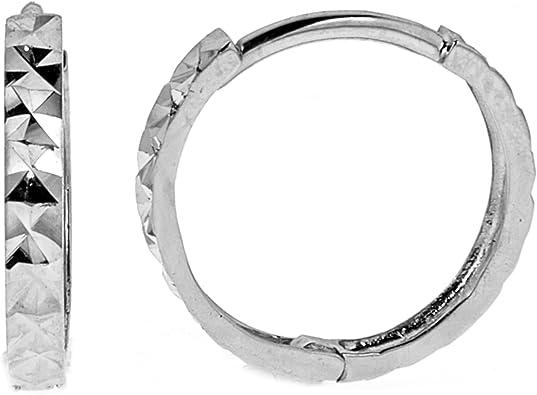 Men/'s 14K Real White Gold Single Tubular Hoop Earring Huggy 16mm 1//2 Pair