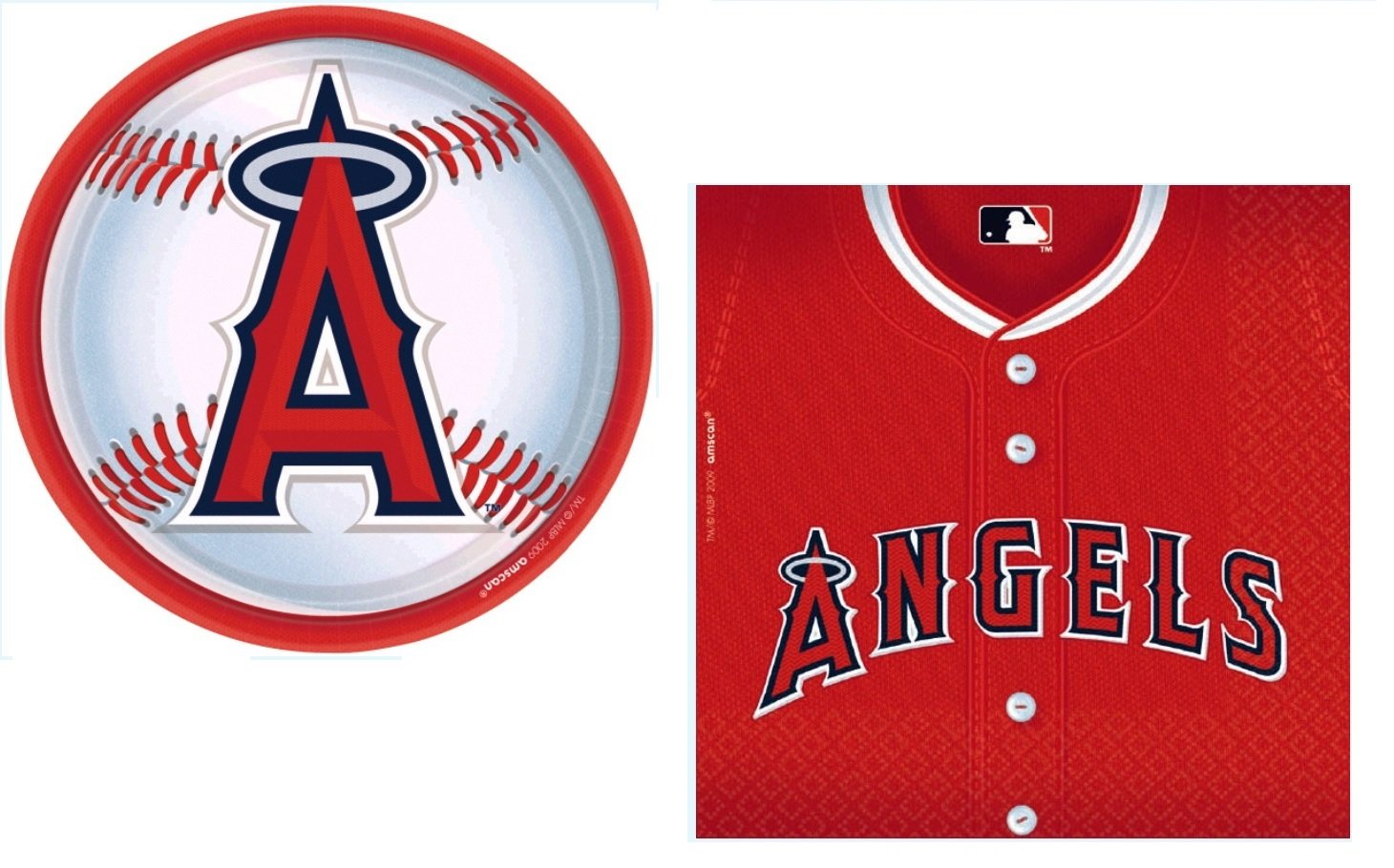 Ananheim Angels MLB Party Supplies Bundle for 18: 18 Plates and 36 Napkins by Amscan