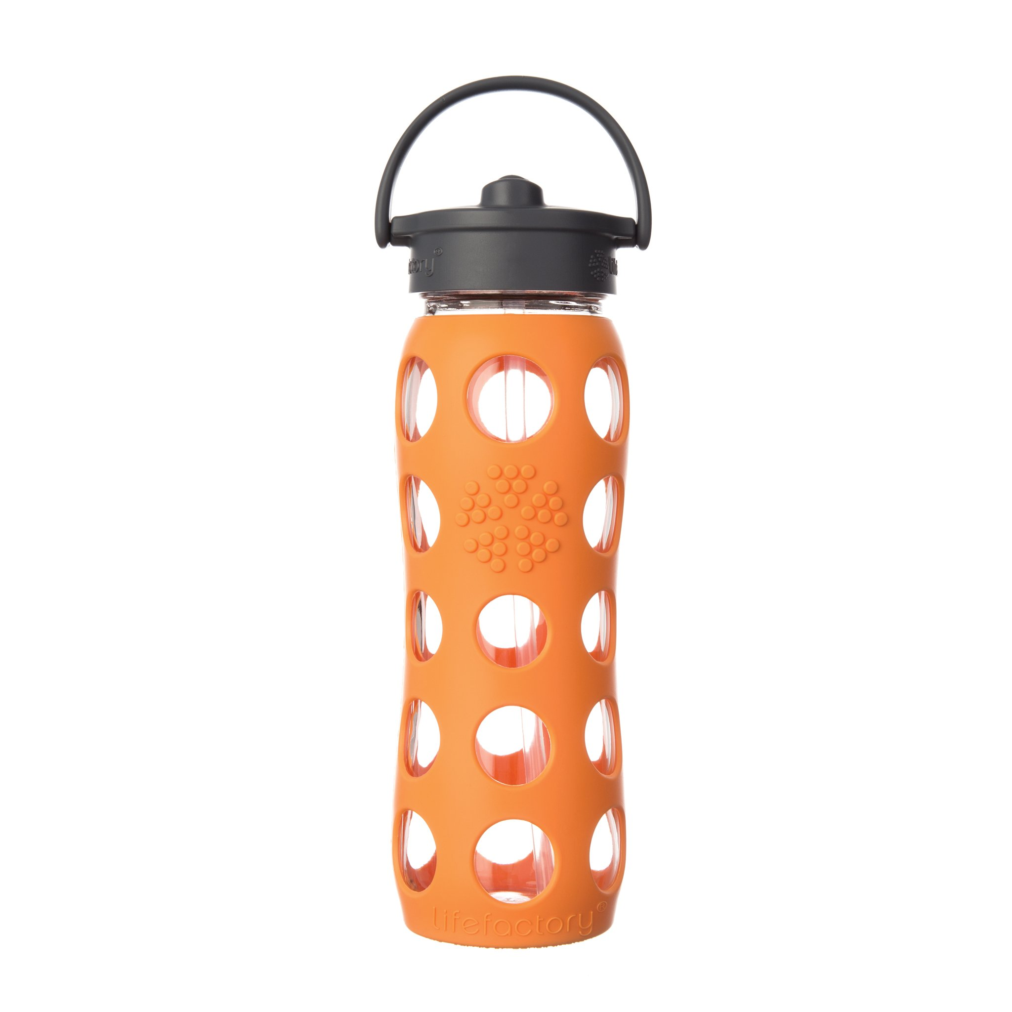 Lifefactory 22-Ounce BPA-Free Glass Water Bottle with Straw Cap and Silicone Sleeve, Orange