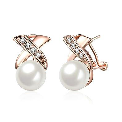 7d1a19eaf144  adisaer Pendientes chapado en oro Mujer Pendientes Rose Gold White Perlas   quot x forma