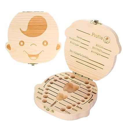 Cajas para dientes Caja Almacenamiento Madera Almacenaje Para Dientes De Leche, versión inglesa (chico