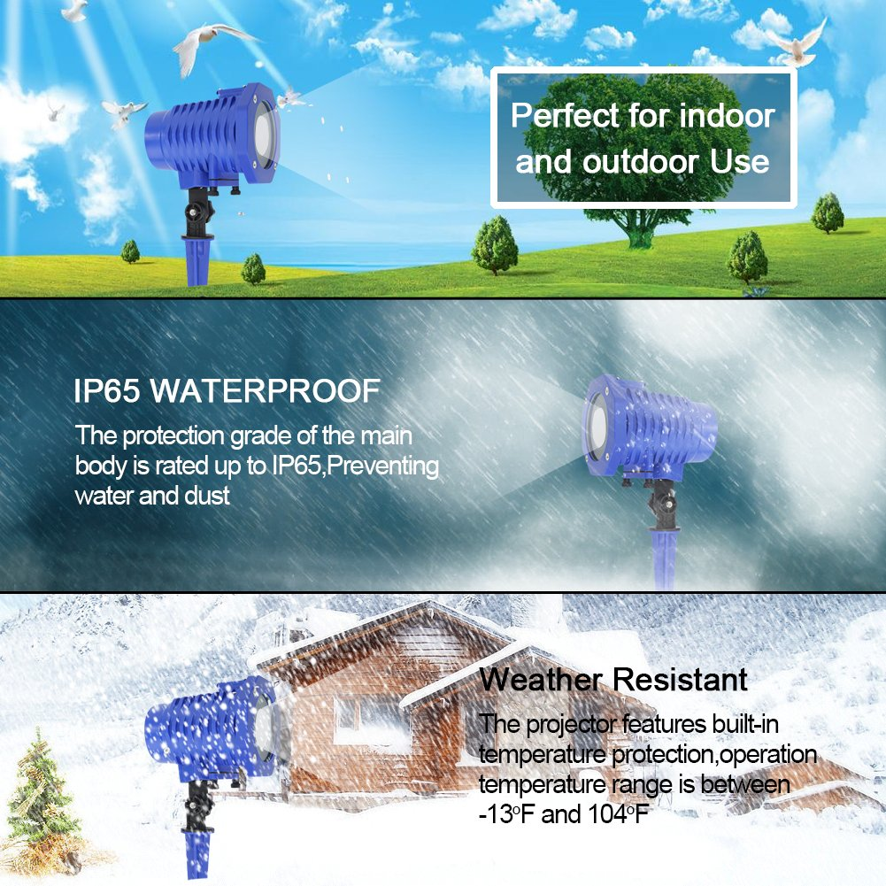 Slashome Projector Light, Waterproof Led Animated Projector with Remote Indoor/Outdoor for Hallween and Christmas