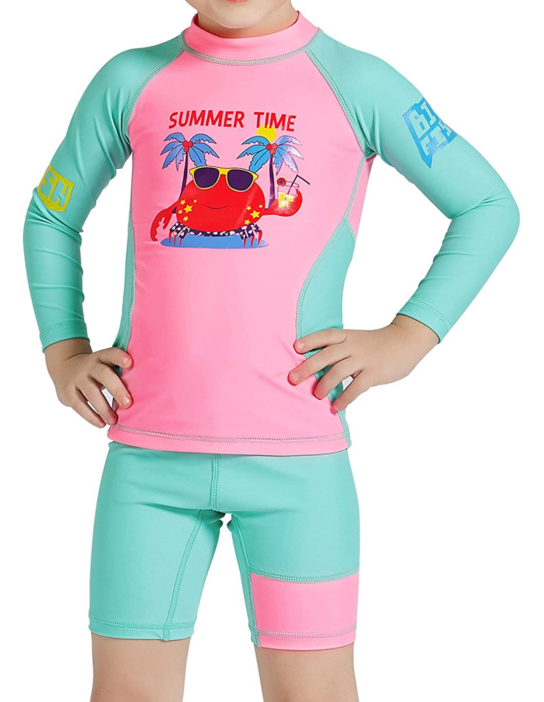 DIVE&SAIL Girls Two-Piece Long Sleeve Rashguard Set with Sun Protection 4-9Y