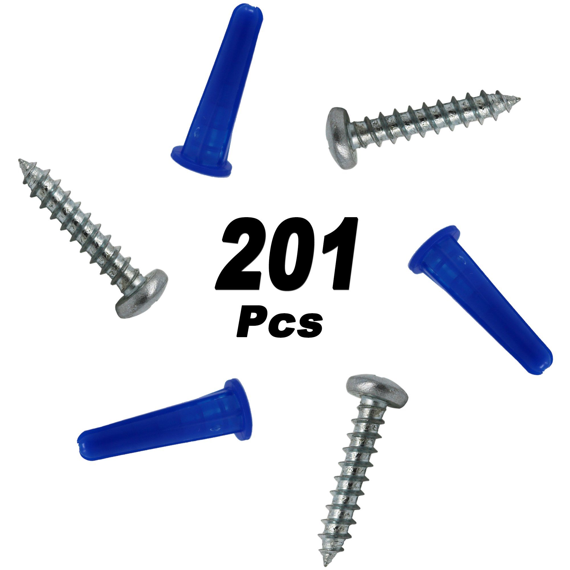 T.K.Excellent Blue Conical Plastic Anchor and Self Tapping Screw and Masonry Drill Bit,201 Pieces by T.K.excellent (Image #7)