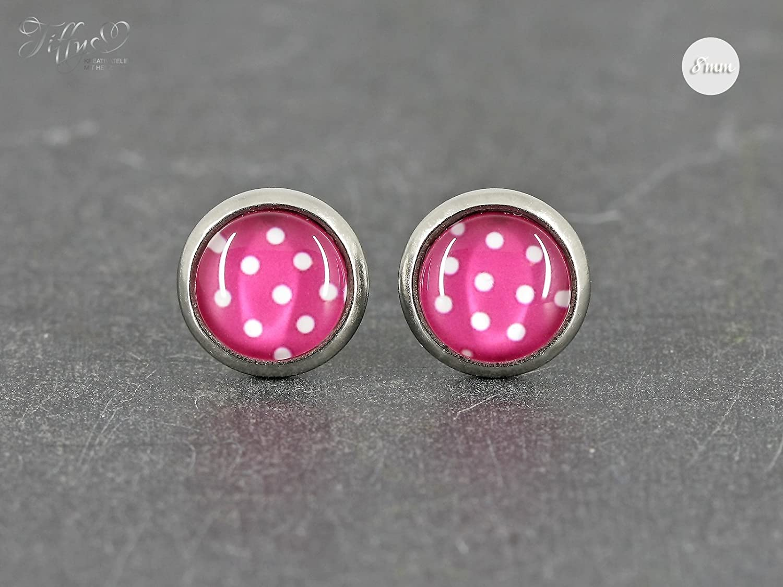 Ohrstecker Edelstahl Cabochon Dots Punkte pink wei/ß 8 mm