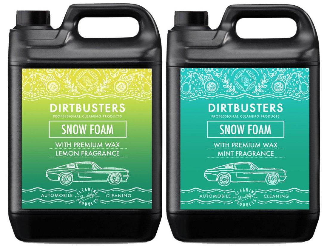 Dirtbusters Candy Snow Foam limone e menta fragranze Sherbert shampoo detergente per pulizia e lavaggio professionale con cera lucida 2 x 5L
