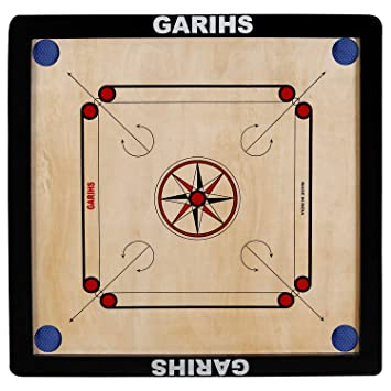 Garihs by Fitlark Carrom Board, Medium Size, Black Color, Includes Carrom Coins, neon Striker & Super Disco Powder, Board Size- 26x26 inches