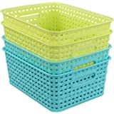 Kekow Plastic Storage Baskets For Bathroom, Beauty And Closets  Organization, 4 Pack