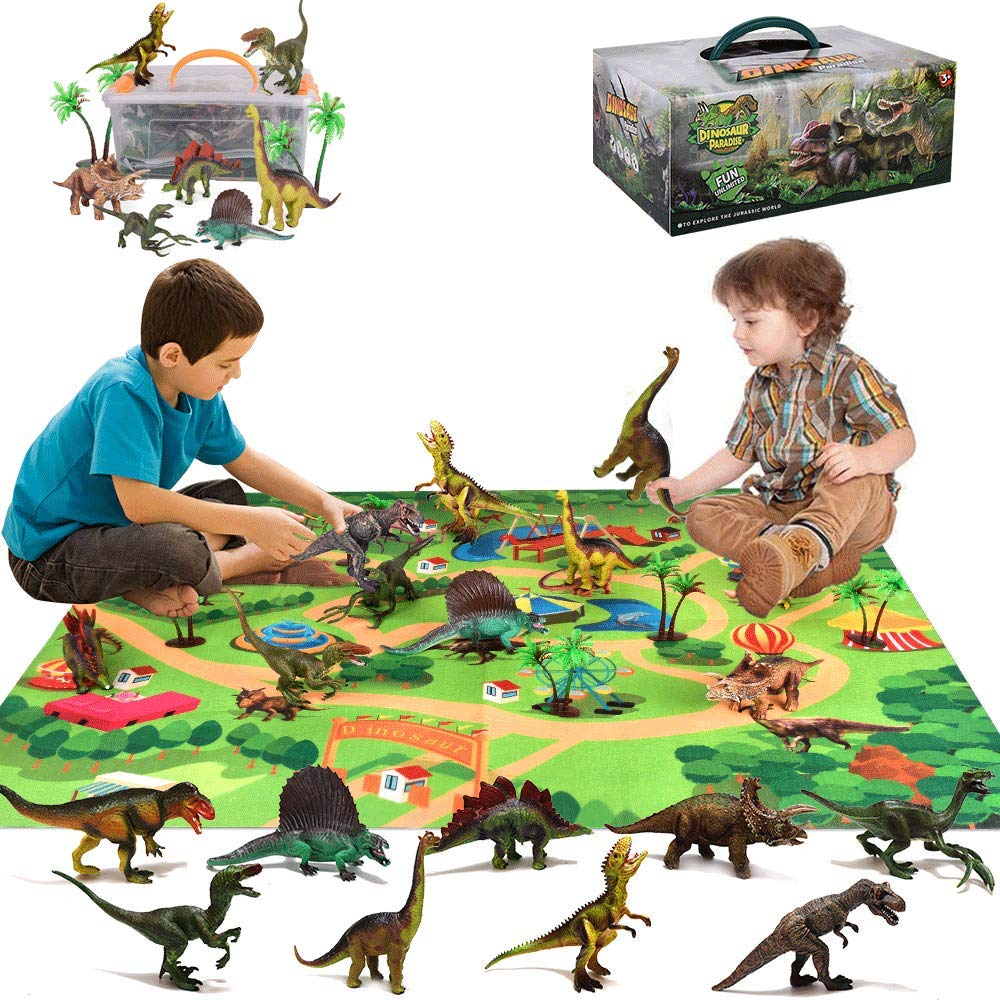 Dinosaur Toys for Boys, GEEKERA 16 Pcs Large Dinosaur Figure with Activity Play Mat & Trees, Realistic Educational Jurassic World Dino Playset for Girls Kids Toddlers Gift