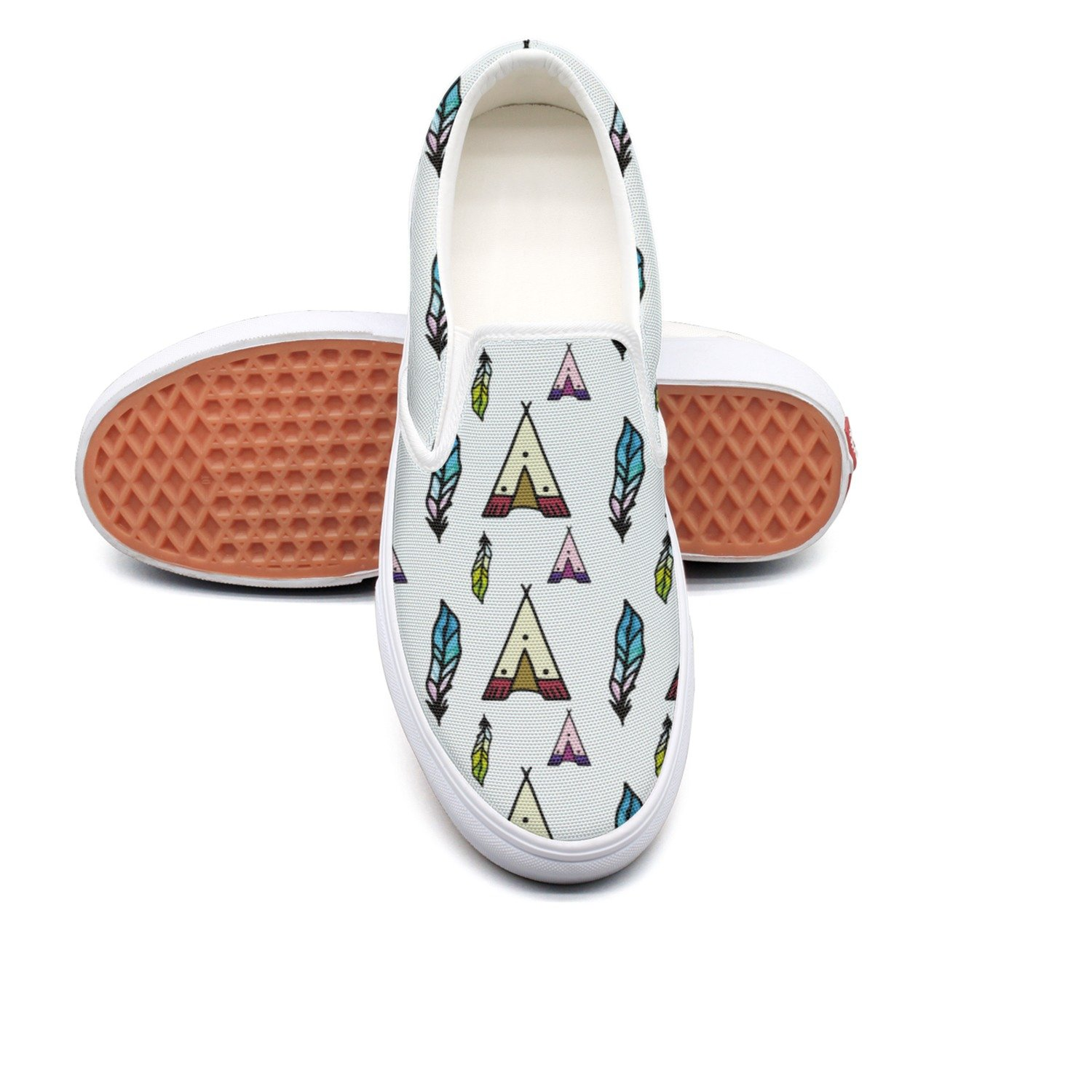 VCERTHDF Feather Tribal Teepee Indian Pattern Fashion Slip-On Shoes Mens White