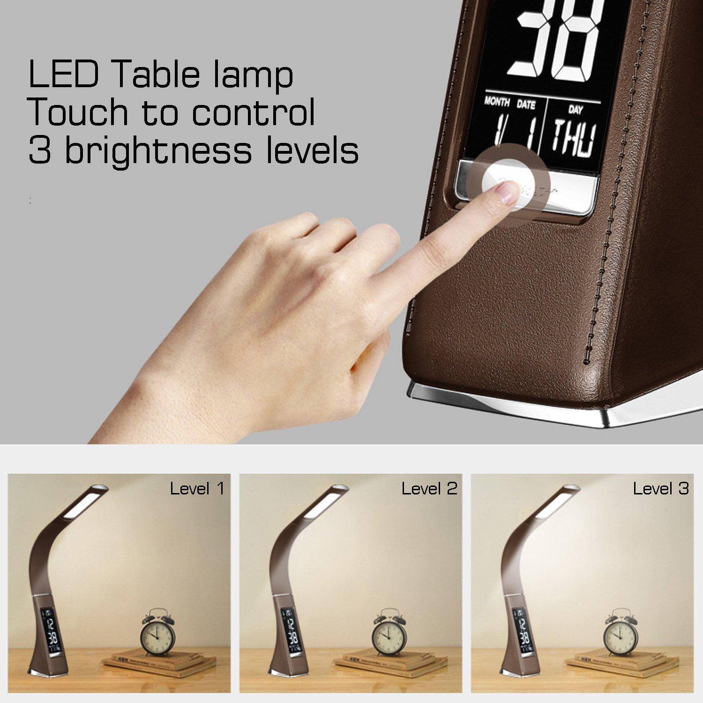 ora e temperatura colore: Caff/è WILIT U2 schermo dimmerabile calendario lampada da comodino con 3 livelli di luminosit/à dimmerabile Lampada da tavolo a LED da 5 W con sveglia