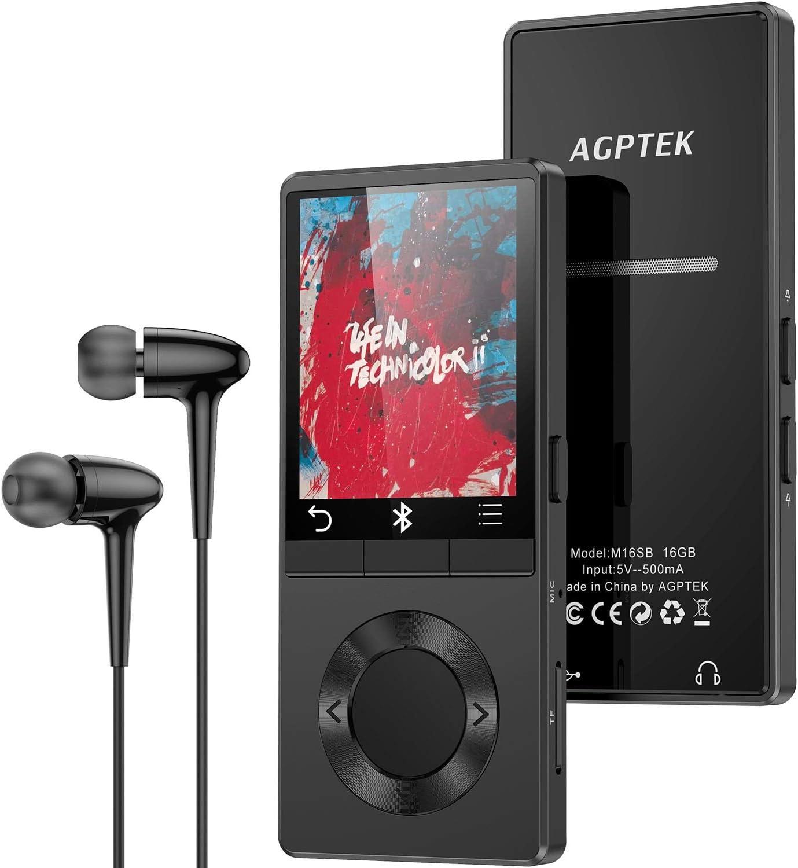 registratore vocale supporta fino a 128 GB lettore musicale con schermo curvo AGPTEK da 2,4con altoparlante HiFi Audio senza perdita con radio FM Lettore MP3 da 32 GB con Bluetooth 5.0