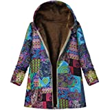Fleece Lined Winter Warm Jackets Coat for Women Fankle Sale Retro Print Zip Up Hooded Linen Parka Overcoat with Pockets