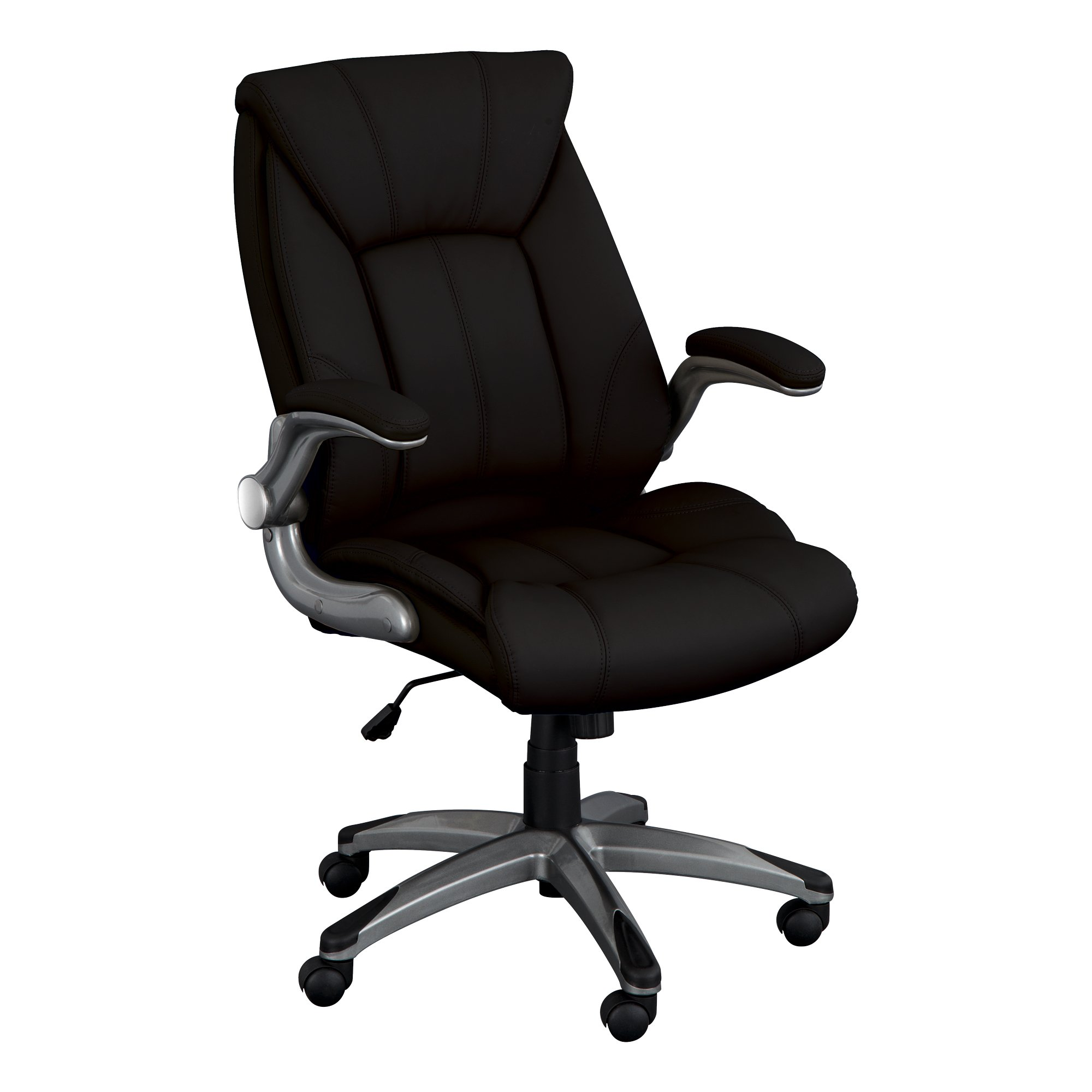 Norwood Commercial Furniture Executive Chair with Flip-Up Arms, Black, NOR-OUG1041BK-SO