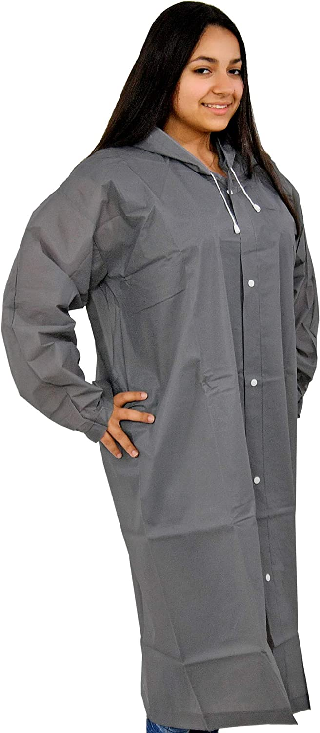 """Home-X Adult Portable Raincoat Rain Poncho with Drawstring Hood and Sleeves, Weatherproof Raincoat, Unisex Poncho, Light Weight, Easy to Carry-Grey-7.25"""" L"""
