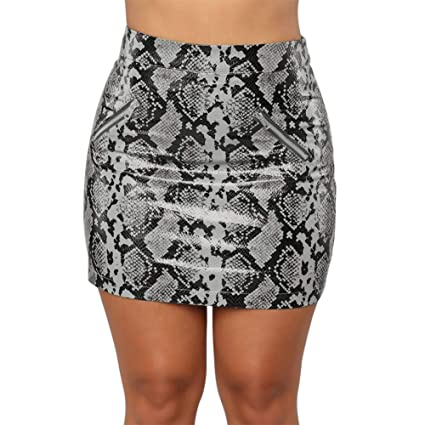 5cacd1117 Amazon.com : TRENTON Women's Skirts Fashion Side Zipper High Waist  Snakeskin Pattern Print Bodycon Mini Pencil Skirt White S : Garden & Outdoor
