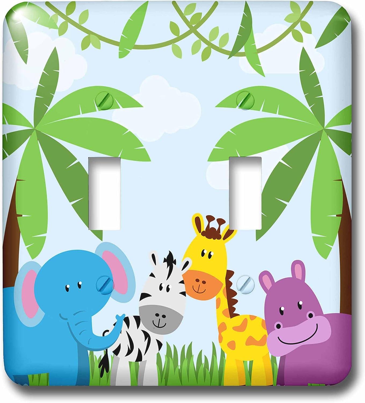 3d Rose Lsp 222359 2 Cute Jungle Animals Scene Double Toggle Switch Amazon Com