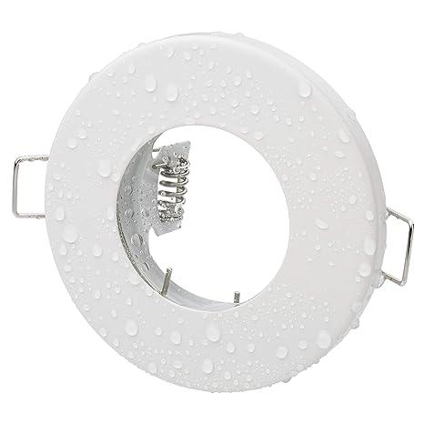 Focos empotrables redondos IP65 para baño, de color blanco mate, cepillado versión 230 V GU10 (sin bombillas) para LED y lámparas halógenas ...