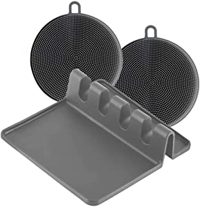 Silicone Kitchen Spoon Rest and 2 Silicone Sponges-Bundle, Utensil Holder for Countertop with Drip Pad, Ladles, Tongs and Spoon Holder (GREY)