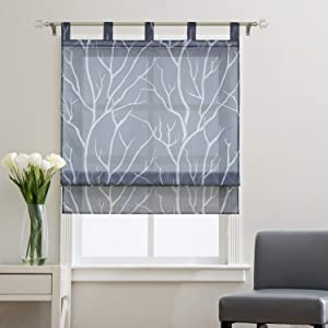Joyswahl Sheer Window Curtain Balcony Branch Pattern Voile Roman Shades Rod Pocket Kitchen Curtain, 1pc(Grey, W31 x H55 inch)