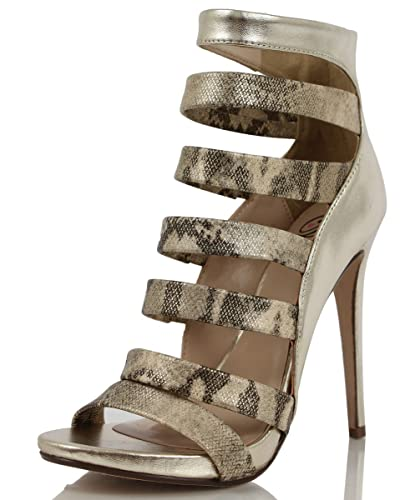 9dfd93e1bda Delicious Women s Some Faux Snake Skin Leather Strappy Open Toe Ankle High  Heel Pumps