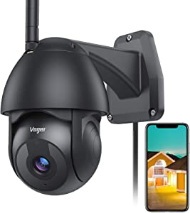 Voger Security Camera Outdoor, 360°Black Camera for Home Security 1080P WiFi Surveillance Camera System with Motion Detection Night Vision 2-Way Audio IP66 Weatherproof with Alexa and Cloud