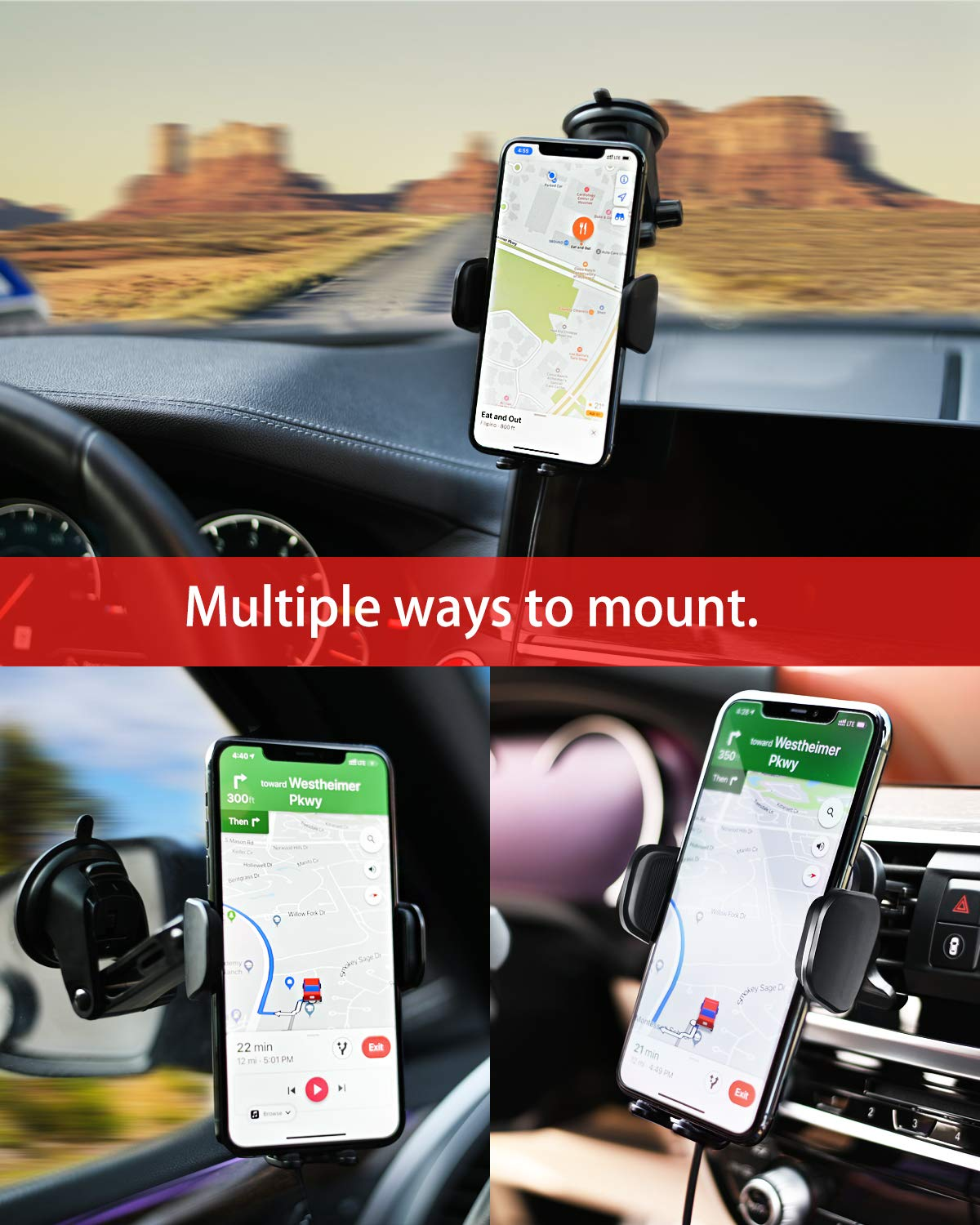 AC Vent /& Windshield Phone Holder Compatible with iPhone 11 Red 11 Pro//Pro MAX YoSpot Smart Wireless Charger Auto-Clamp Mount w//USB-C Xs Max,XR,XS,X Galaxy S10,S9,S8 Note 10,9,8 w//Power Adapter