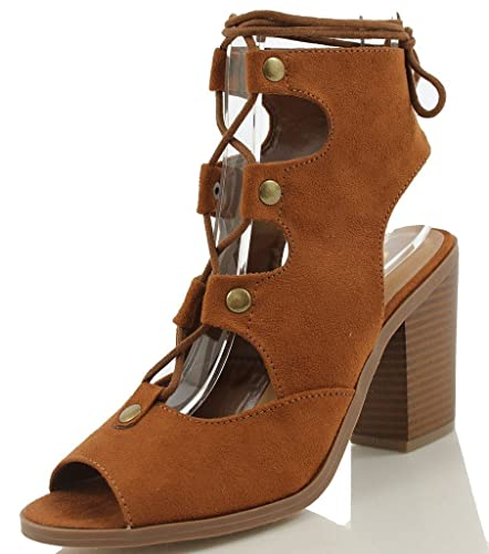 2b5c4125ada7 SoleAddiction Women s Stylish Lace up Gladiator Bootie Low Chunky Block  Heel Sandal