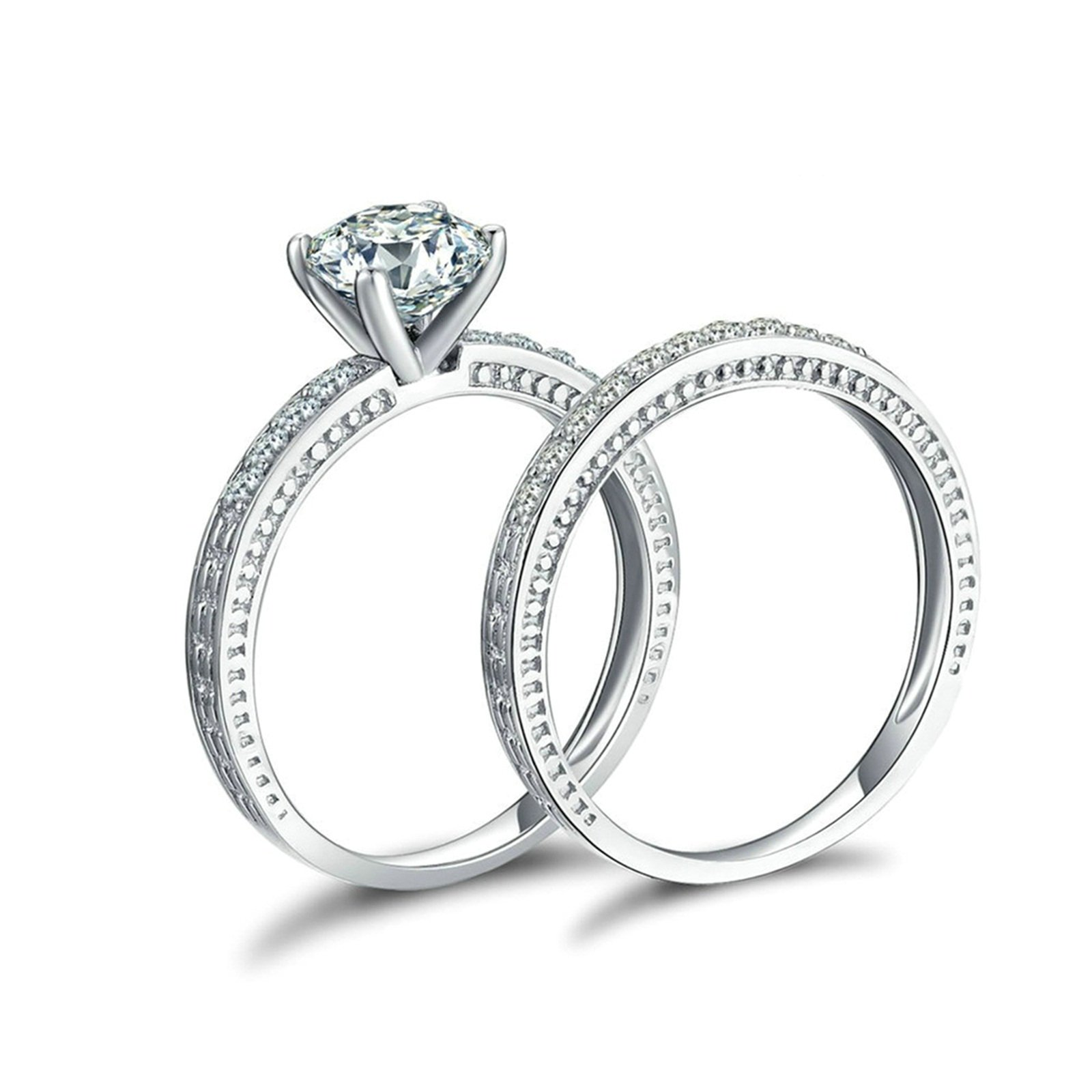 Daesar Wedding Bands His and Hers 4-Prong Setting Round Cut Crystal Ring Set Ring Size 6