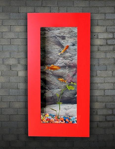Acuario Pared Rojo 800 x 400 mm, aluminio/vidrio