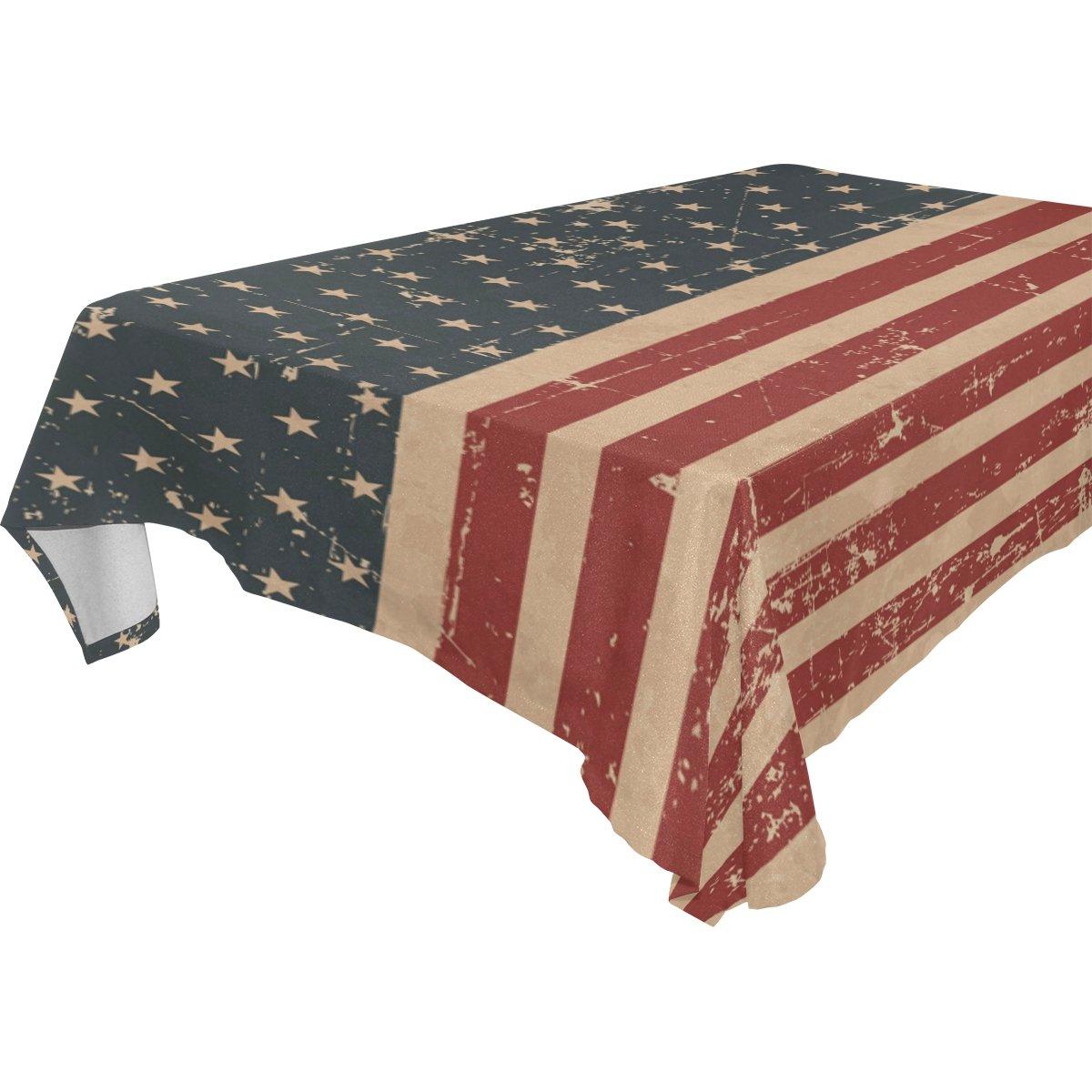 alirea長方形愛国アメリカ国旗テーブルクロス用ウェディングパーティー休日洗濯可能ポリエステルテーブル布カバー、54 x 54インチ 60x108(in) 60x108(in)  B07B94CBCF
