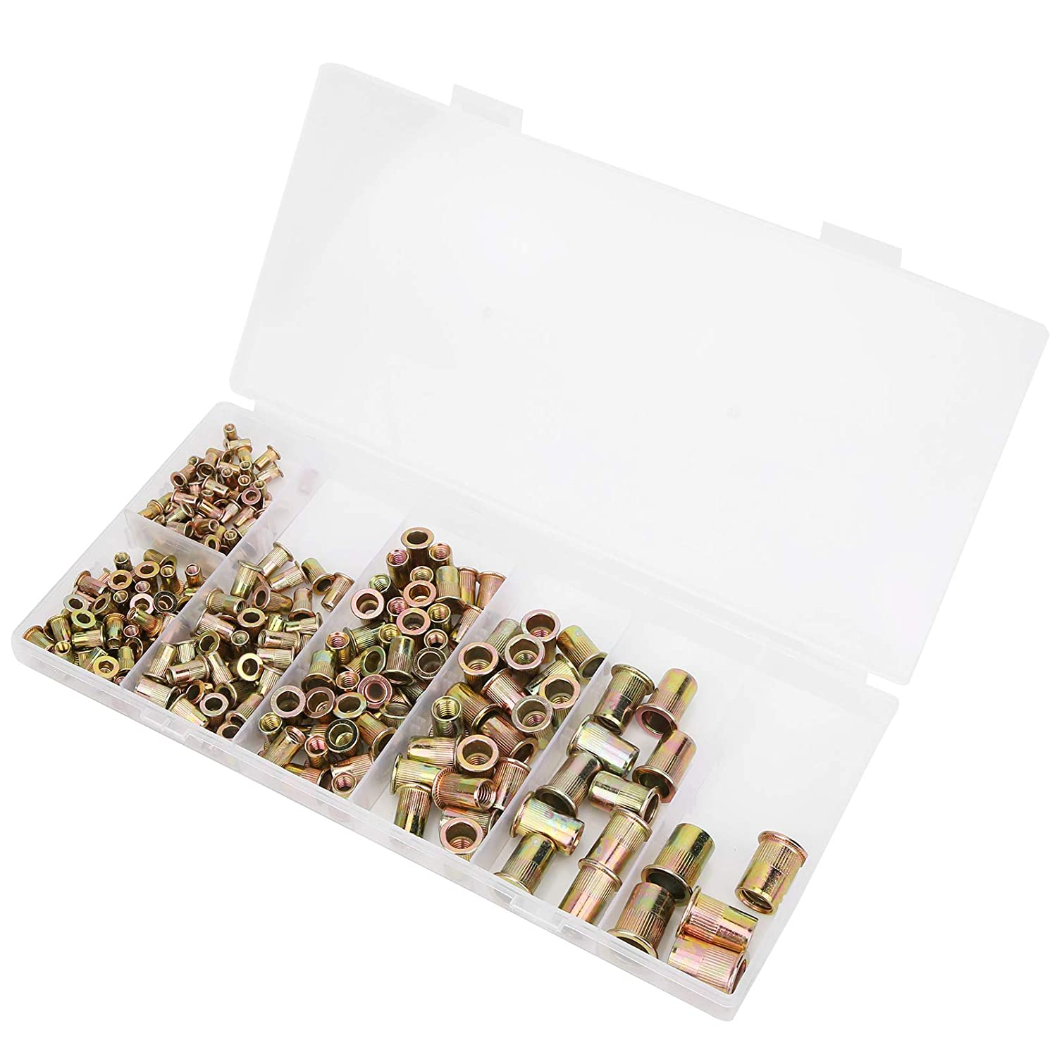 for The Various Metal Plates and Pipes 225pcs Mixed Zinc Plated Carbon Steel Rivet Nut Threaded Fastener Nut Set M3//4//5//6//8//10//12 Assortment Kit