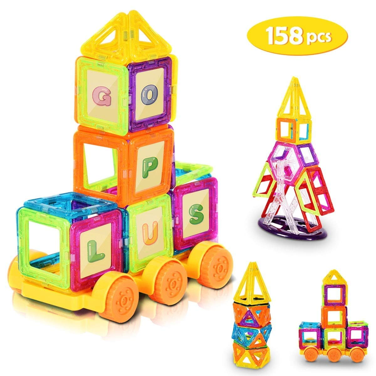 LordBee Attractive Colorful 158 pcs Magical Magnetic Construction Building Blocks Non-Toxic Harmless Plastic Magnet by LordBee (Image #1)