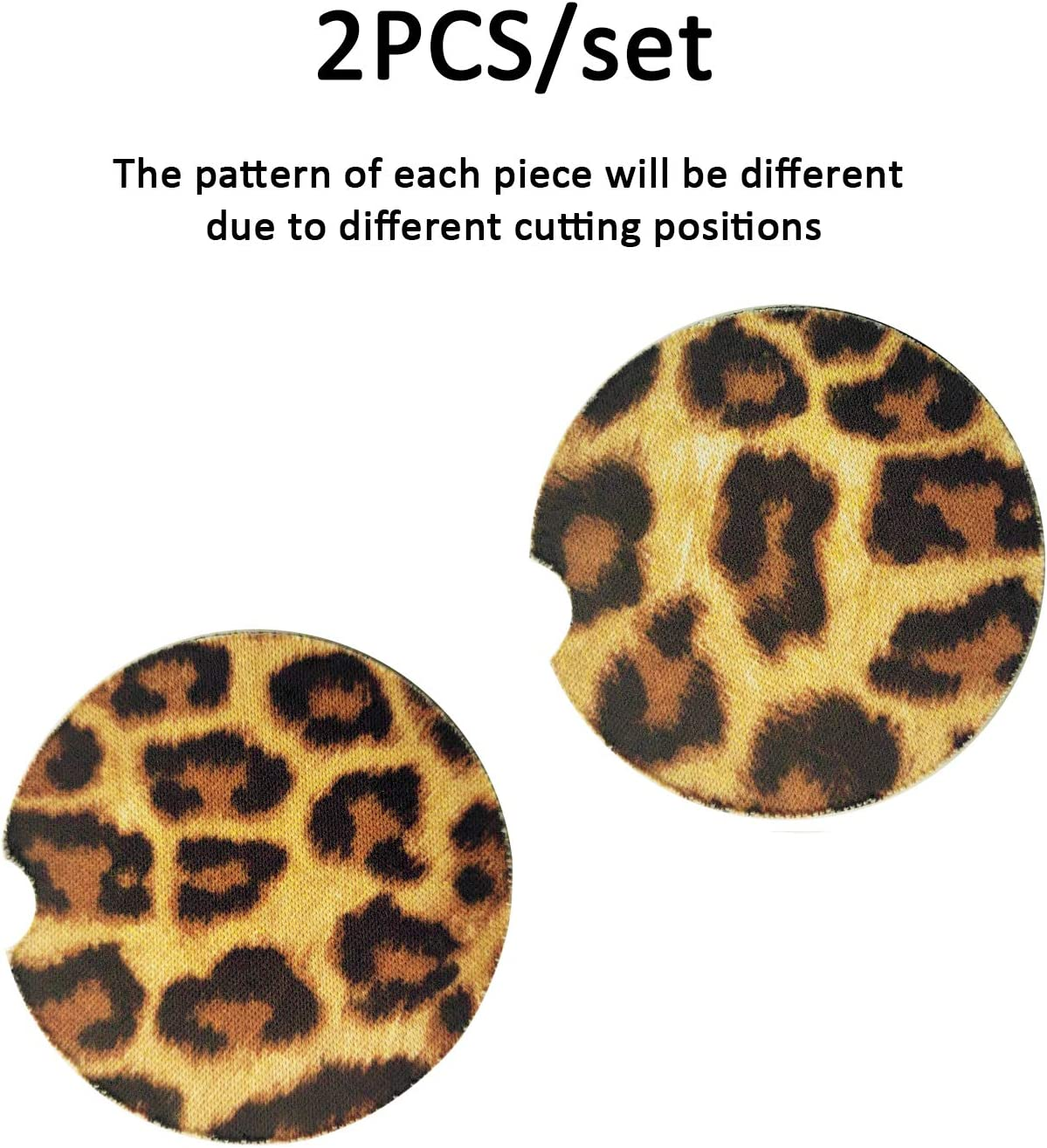 Auovo 2.7 Car Cup Holder Coaster Inserts Leopard Print Neoprene Universal Fit Automotive Interior Accessories Cup Coasters Pad Mat for Living Room Kitchen Office 4-PC Kit