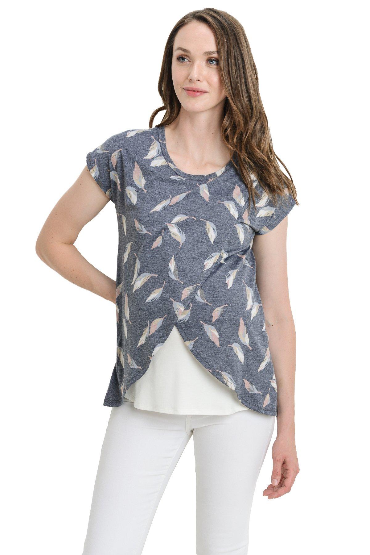 Hello MIZ Maternity Asymmetrical Wrap Overlay Nursing Breastfeeding Top (Large, Navy Leaf/Ivory)