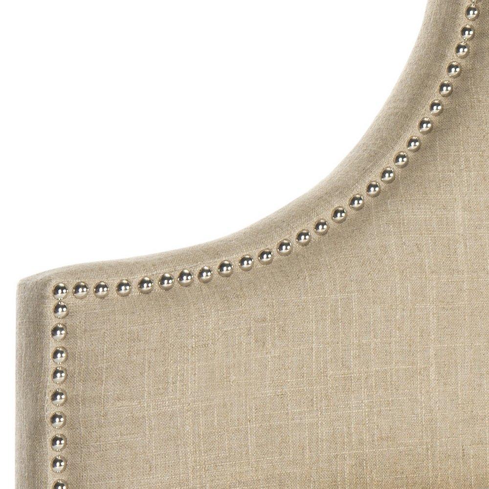 Safavieh Hallmar Hemp Linen Upholstered Arched Headboard - Silver Nailhead (King) by Safavieh (Image #2)