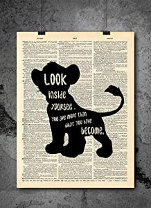 Lion King - Simba Look Inside Yourself Quote | Inspirational Art - Vintage Dictionary Print 8x10 inch Home Vintage Art Prints Wall Art for Home Decor Wall Decorations Upcycled Book Art Unframed