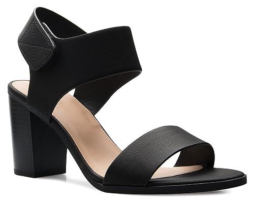 09821bd27 OLIVIA K Women's Peep Toe Sandal - Low Stacked Heel - Open Toe Ankle Heel  Cutout Enclosure Black: Amazon.ca: Shoes & Handbags