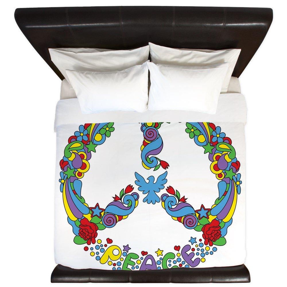 King Duvet Cover Pop Art Peace Symbol Flowers Stars by Royal Lion