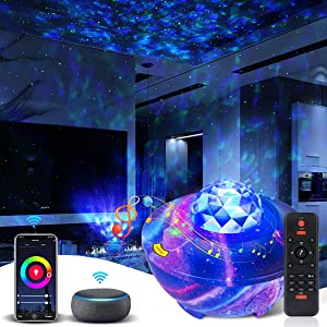 Star Projector Smart Galaxy Projector Galaxy Light Projector for Bedroom Galaxy Cove Projector Bluetooth Speaker Work with Alexa&Google Assistant Remote Star Light Galaxy Pro 360 for Bedroom Christmas