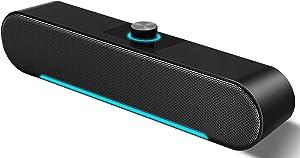 Computer Speakers,LENRUE Wired Computer Sound Bar, Stereo USB Powered Mini Soundbar Speaker for PC Laptop Tablets Desktop (Black)