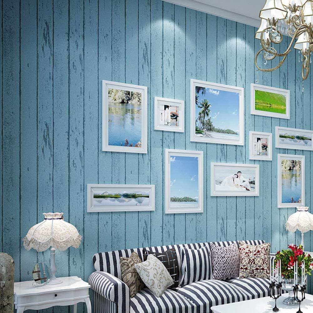 Azul y blanco papel tapiz de rayas dormitorio sala de estar ...