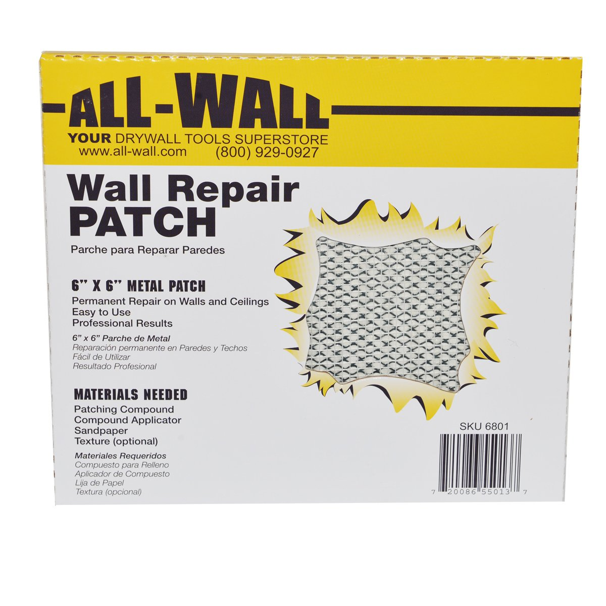 All-Wall Drywall Repair Patches - Metal Aluminum Stick-On Adhesive Wall Patch (6'' x 6'' 10-Pack)