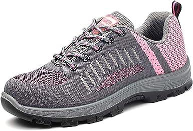 JIEFU Calzado de Seguridad Mujer Ligero Zapatos de Trabajo Puntera de Acero Transpirables Zapatos de Industria: Amazon.es: Zapatos y complementos