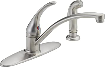 Delta Faucet Foundations Single Handle Kitchen Sink Faucet Stainless B4410lf Ss Touch On Kitchen Sink Faucets Amazon Com
