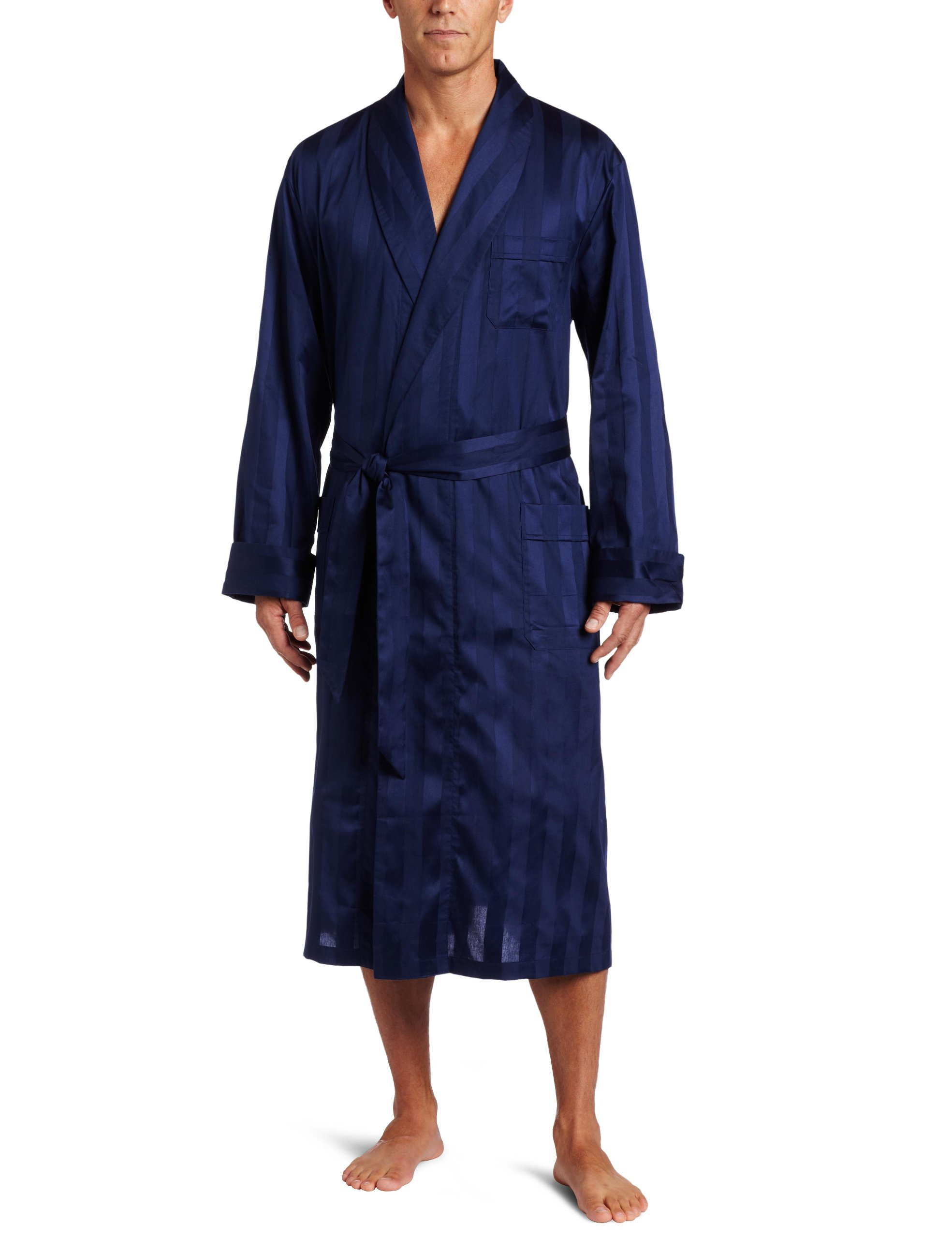 Derek Rose Men's Lingfield Robe, Navy, X-Large