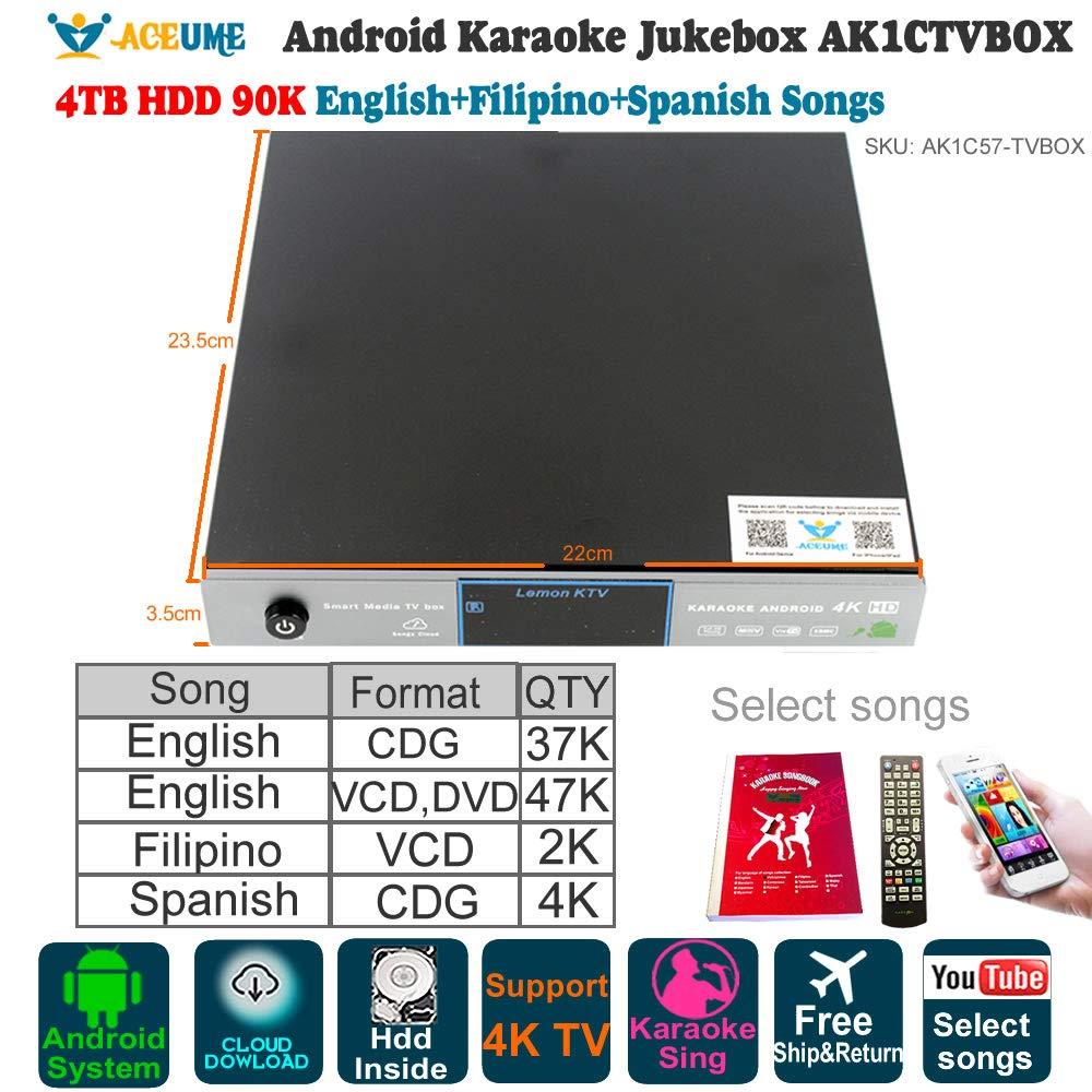 Android Karaoke Machine,4TB HDD 90K English Filipino Spanish Songs Player/Jukebox,English Songs Update to 2018