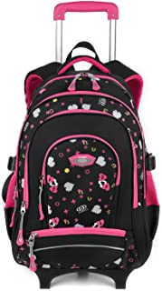 COOFIT Cartable a roulette fille Sac a roulette fille Cartable fille primaire en Nylon Sac ecole fille Cartable enfant primaire Sac a dos fille college