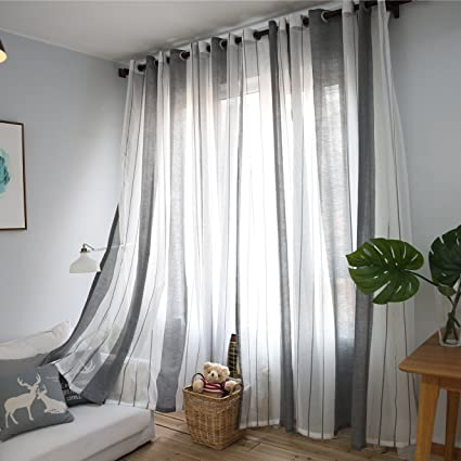 Delightful DEZENE Vertical Striped Sheer Curtains For Living Room Tulle Panels With  Grommets,76 Inches Width
